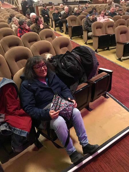 Denise Lantz sitting in Empire Theatre waiting for Gordon Lightfoot