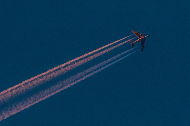 Four engine jet over Belleville Ontario after sunset. Original from CR2.