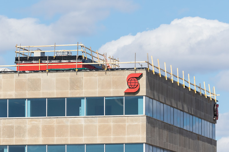 Roof work at the Bank of Nova Scotia building.