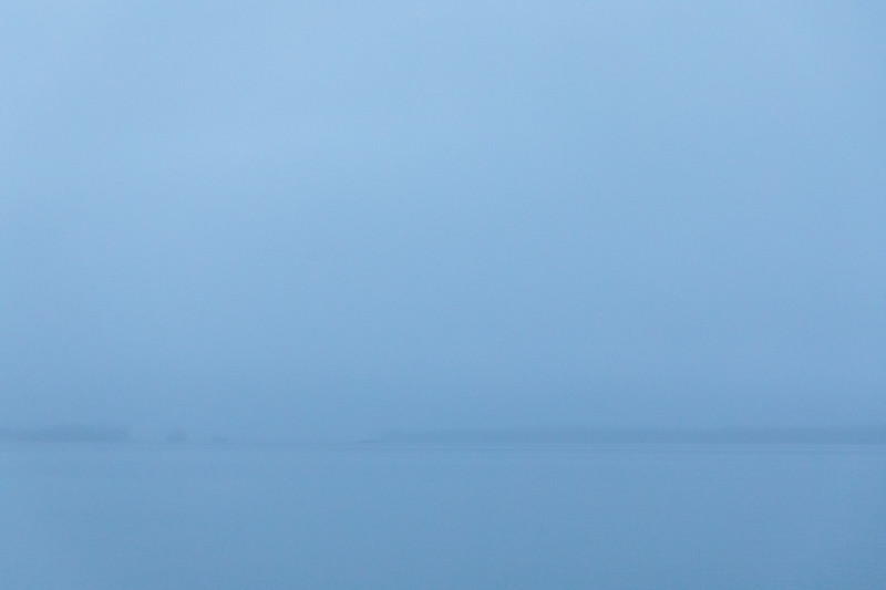 Looking across the Bay of Quinte on a foggy morning before sunrise.