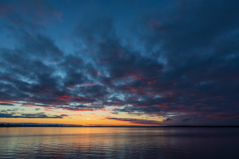 Wide view down the Bay of Quinte before sunrise at Belleville Ontario 2019 April 10.