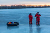 Violet and Rick Long going ice fishing on the Bay of Quinte at dawn 2019 February 27.