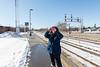 Denise Lantz taking photographs at Belleville train station