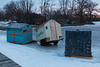 Herchimer Boat Launch - ice fishing huts pulled off the Bay of Quinte due to fear of high winds.