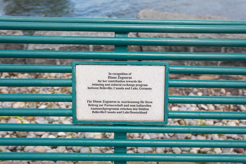 Werner Dietz Park on the Bay of Quinte. Bench dedicated to Diane Zegouras, wife of Belleville mayor George Zegouras.