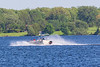 Pontoon boat on the Bay of Quinte.