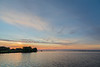 Looking down the Bay of Quinte at sunrise along the north shoreline.