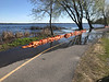 Sand bags protecting path along the Bay of Quinte