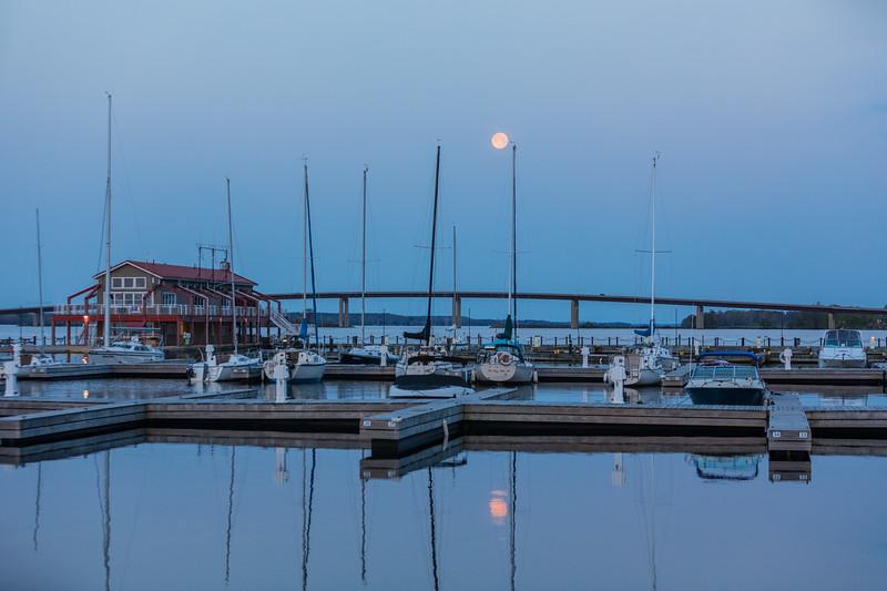 Full moon over harbour.