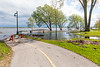 Closed pathway due to high water at East Bayshore Park