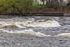 The Moira River flowing briskly below the Lott Dam