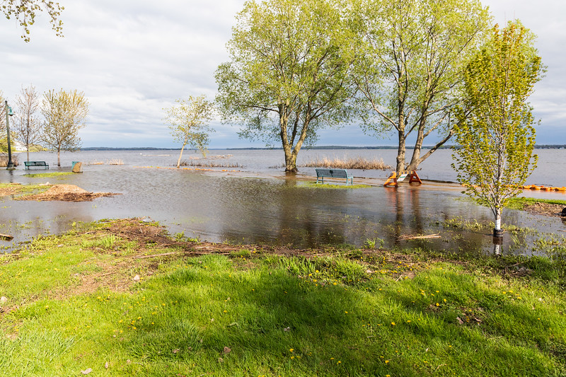 East Bayshore park high water from the Bay of Quinte