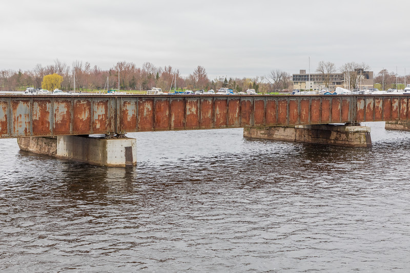Canadian Pacific Railway bridge over the Moira River in Belleville Ontario. Note height of water. CPR