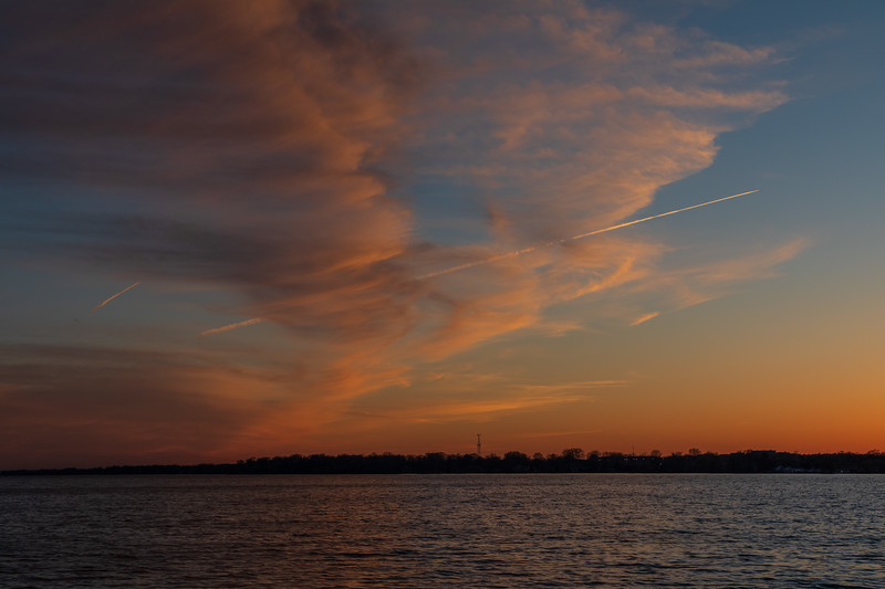Contrails and clouds.