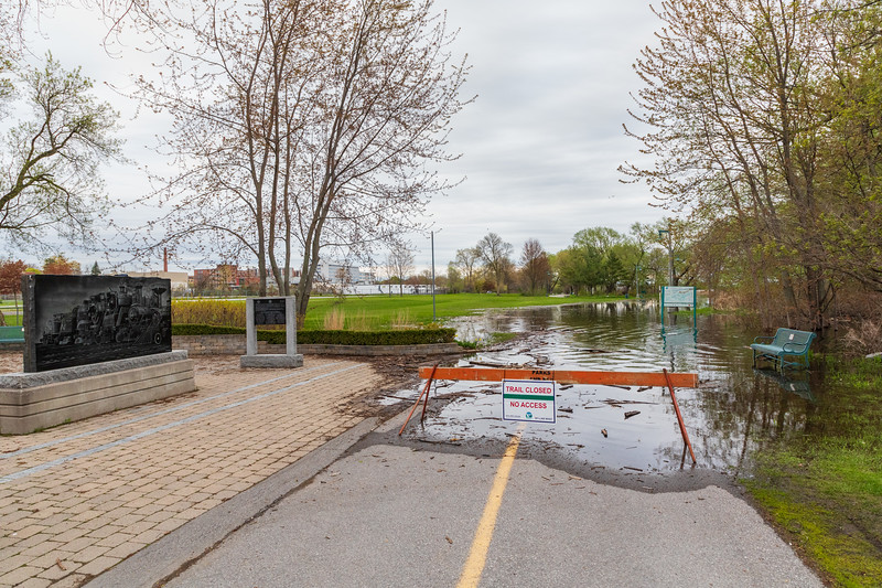 Shoreline path blocked due to high water.