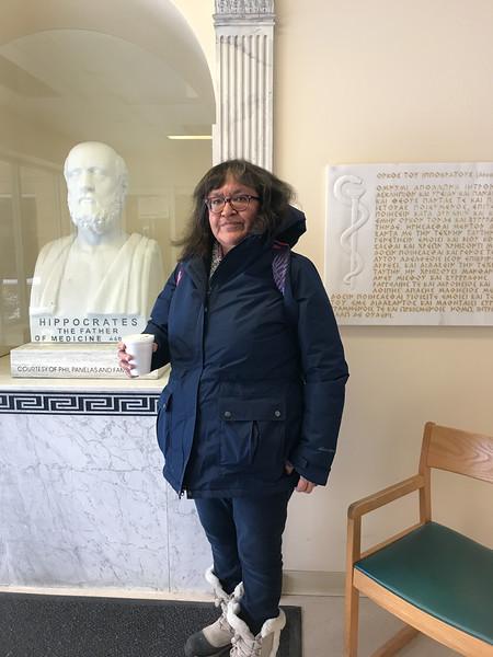 Denise Lantz by statue of Hippocrates at Trenton Memorial Hospital 2019 January 30