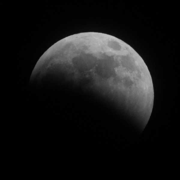 Lunar eclipse prior to full eclipse. 2019 January 20