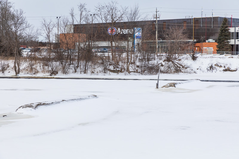 What is left of Lazier's Dam near the CAA Arena.