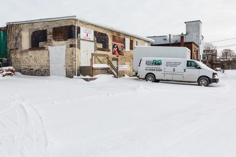 Back of Barratt's Office Pro in Belleville Ontario. Customer parking at rear.