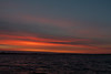 Orange and purple sky down the Bay of Quinte before sunrise.