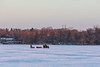 All terrain vehicle with sleds on the Bay of Quinte