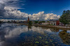 East bank of the Moira River under advancing clouds. Centred on Belleville City Hall. HDR efx dark shadows +50