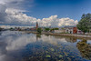East bank of the Moira River under advancing clouds. Centred on Belleville City Hall. HDR efx balanced