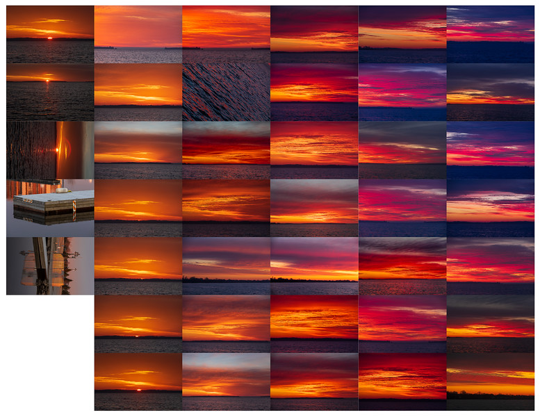 Contact sheet of sunrise photographs 2020 March 28 taken at Jane Forrester Park in Belleville Ontario.