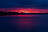Bay of Quinte shoreline before sunrise. Brighter skies showing where the sun will rise.