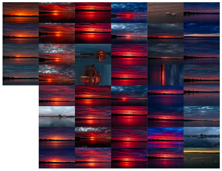 Contact sheet sunrise photos 2020 May 31 Jane Forrester Park Belleville Ontario
