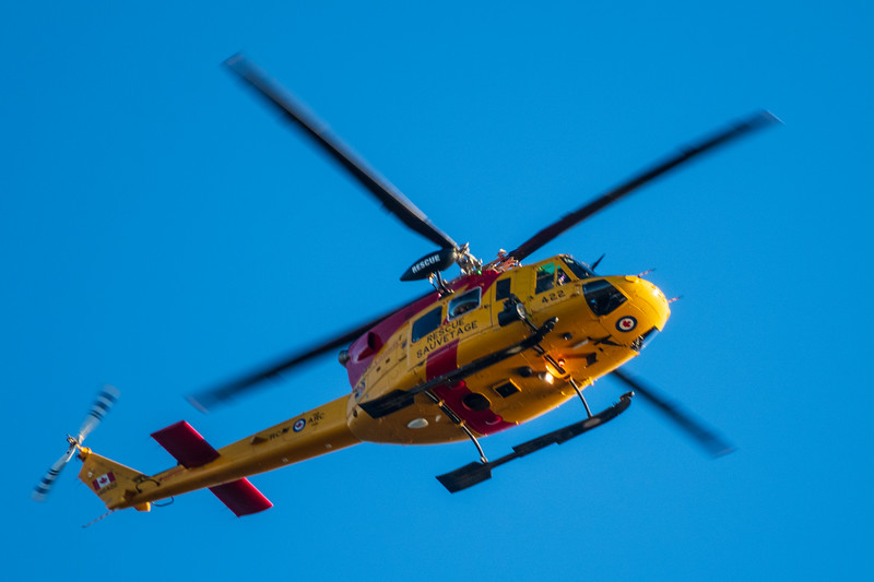 RCAF Griffon helicopter configured for search and rescue over Turtle Pond. 44 squadrom