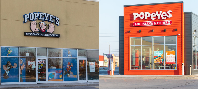 "Popeye's ""Supplments Lowest Prices"" o and Popeyes Louisiana Kitchen on n Bell Boulevard"