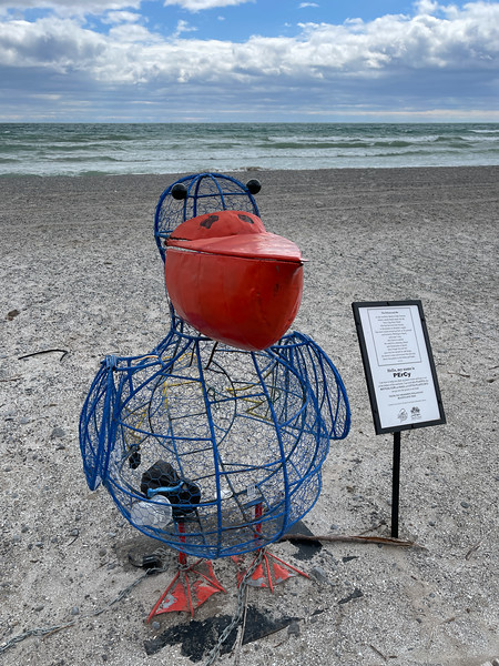 Pelican shaped garbage container at Rotary Beach in Wellington Ontario