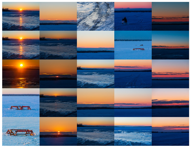 Contact sheet sunrise photos from Herchimer Boat Launch 2021 February 26.