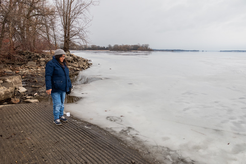 Denise Lantz checking out the ice on the Bay of Quinte 2021 January 16
