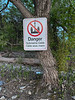 Hydro One danger submarine cable sign at Massassauga Point