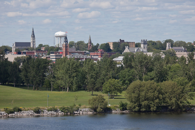 St. Michael's, Hotel Quinte, Bridge Street United, St. Thomas Anglican viewed from Bay Bridge (Norris Whitney Bridge) on the Bay of Quinte at Belleville, Ontario