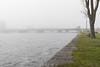 Looking down the Moira River towards Dundas Street bridge on a foggy morning.