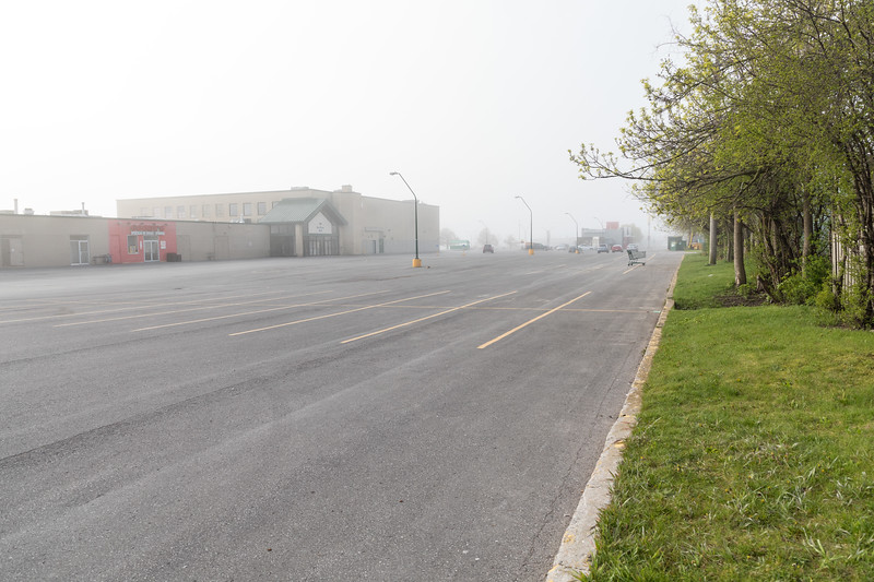 Foggy morning at Bayview Mall formerly Belleville Plaza.