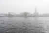 Looking across the Moira River from Coleman Street on a foggy morning.