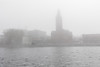 City Hall on a foggy morning from across the Moira River.