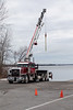 Crane waiting to remove docks at Herchimer boat launch.