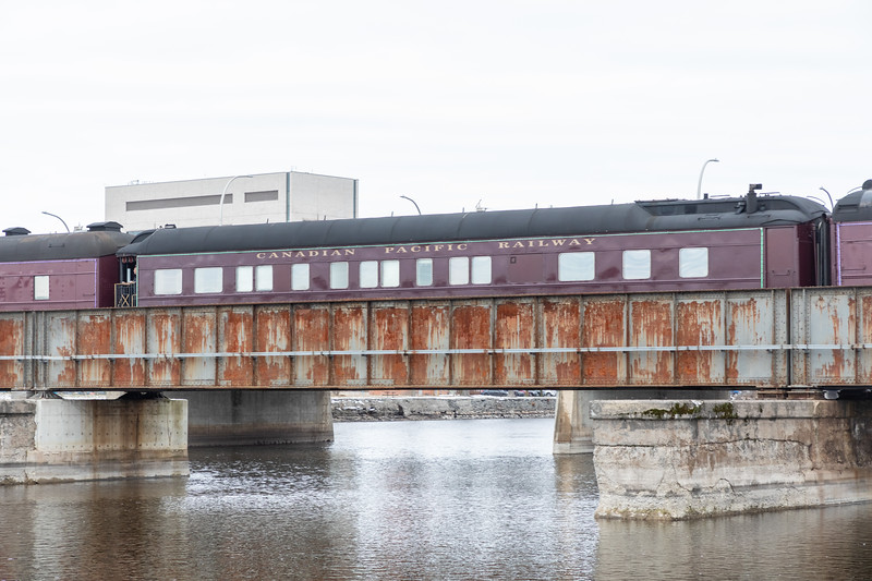 Canadian Pacific Railway Holiday train lead by GP20C-ECO 2249 crossing the Moira River. 2018 November 29.