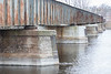 Upstream side of Canadian Pacific Railway bridge over the Moira River in Belleville Ontario.