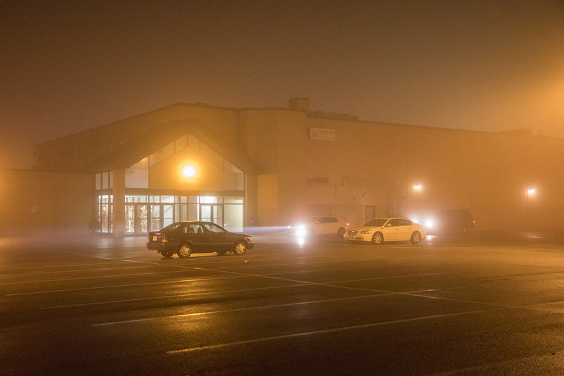 Foggy night view of Bayview Mall.