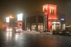 Foggy night view of MacDonald's at Bayview Mall.