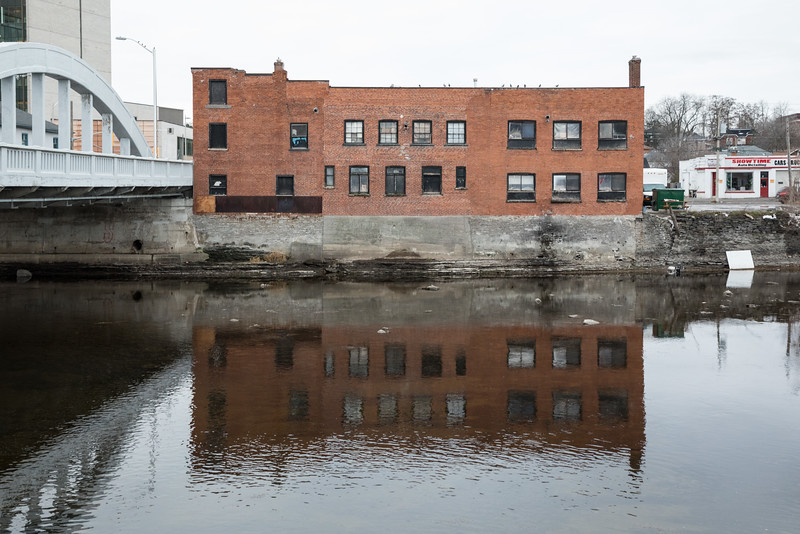 Former Bell Shirt now St. Vincent de Paul. Reflection in the Moira River.