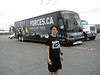 David Hunter wearing New Zealand Rugby shirt in front of Canadian military Forces.ca recruiting bus. Quinte Mall 2009 August 18