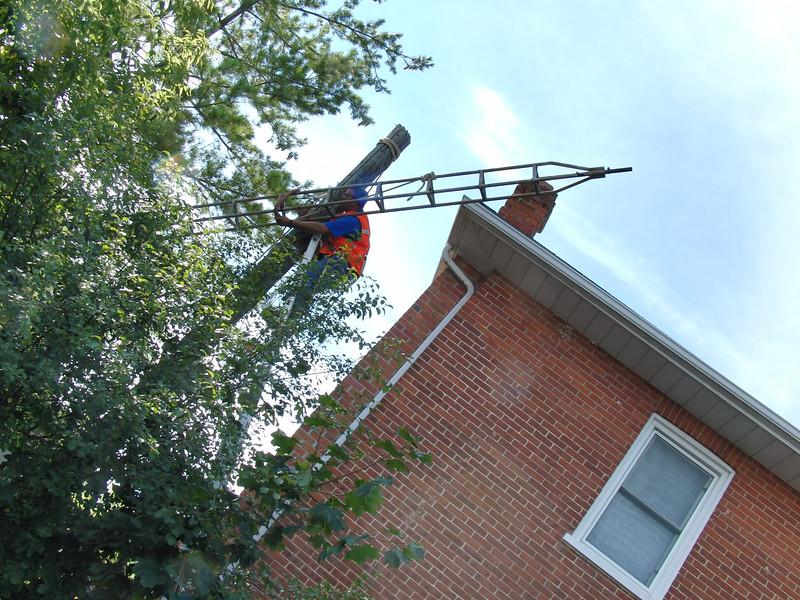 Amateur radio antenna being taken down near Eden Place retirement home.