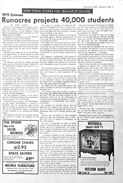 Belleville Times 1969 November 5 page 15<br /> Paul Lantz interview with Education Director Eric Runacres